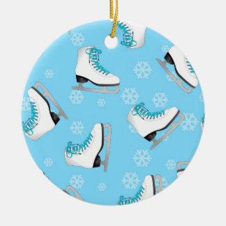 Patinaje artístico - patines de hielo azules con l adorno de navidad