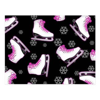 Patinaje artístico - patines de hielo negro y rosa tarjetas postales
