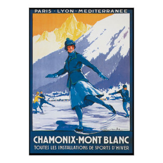 Patinaje de Chamonix Mont Blanc Póster