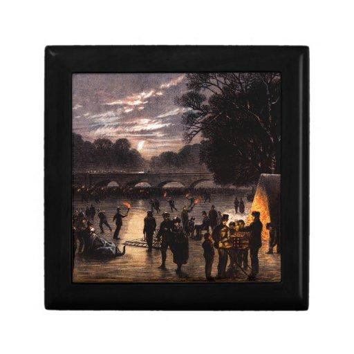 Patinaje de hielo 1870 en Londres Joyero Cuadrado Pequeño