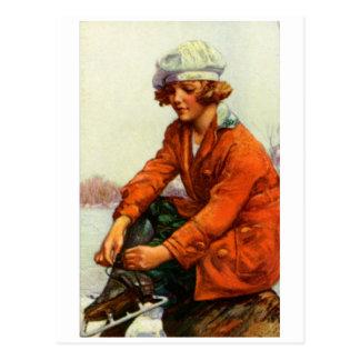 Patinaje de hielo 1915 postal