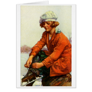 Patinaje de hielo 1915 tarjeta