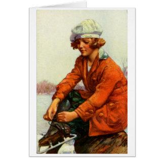 Patinaje de hielo 1915 tarjeta pequeña