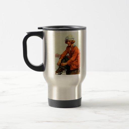 Patinaje de hielo 1915 taza de café