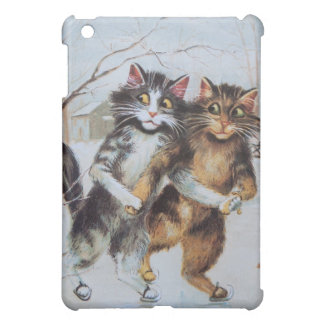 Patinaje de hielo antropomorfo de gatos en la char