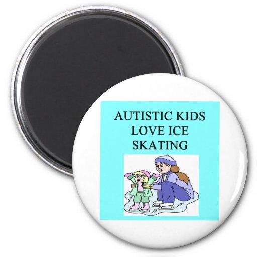 patinaje de hielo autístico del amor de los niños imán redondo 5 cm