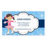 Patinaje de hielo (azul) tarjetas de visita