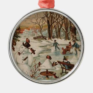 Patinaje de hielo de la escena del navidad del vin adornos de navidad