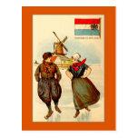 Patinaje de hielo de los pares del vintage, molino tarjeta postal