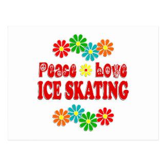 Patinaje de hielo del amor de la paz postal