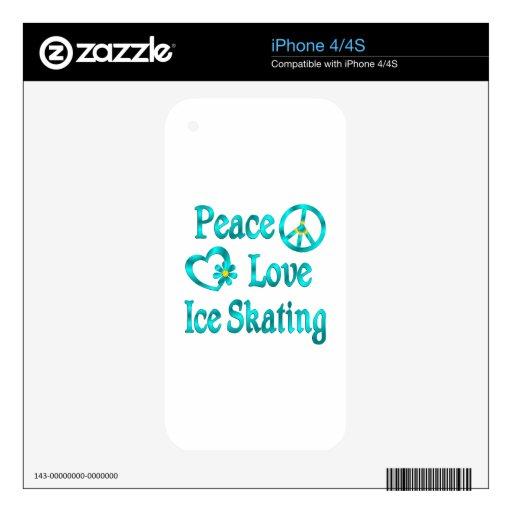 Patinaje de hielo del amor de la paz skin para el iPhone 4