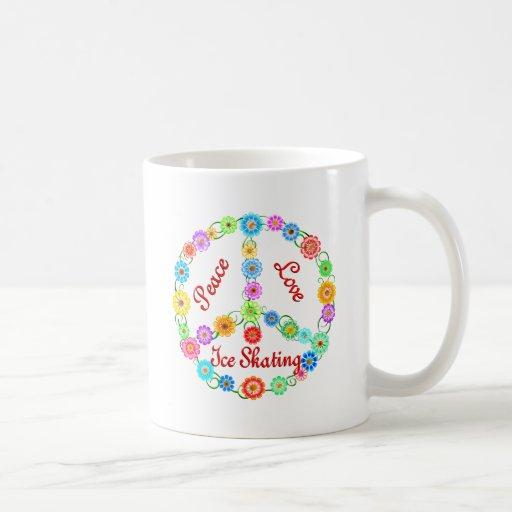 Patinaje de hielo del amor de la paz tazas de café