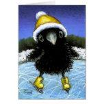 Patinaje de hielo del cuervo del bebé tarjeton