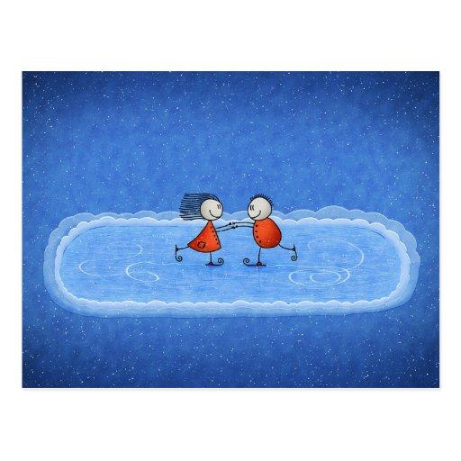 Patinaje de hielo del navidad postales