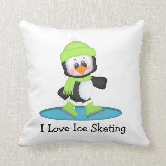 Patinaje de hielo del pingüino cojín