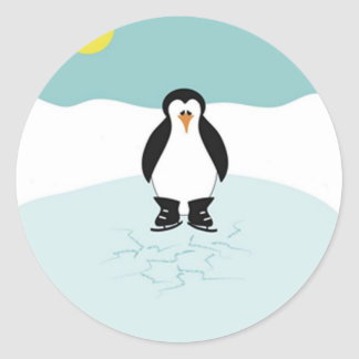 Patinaje de hielo del pingüino pegatina redonda