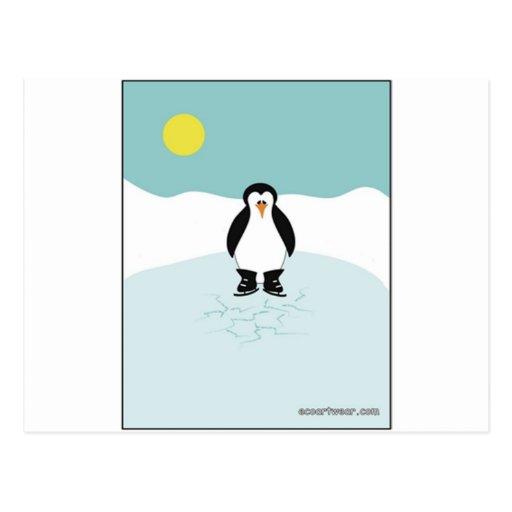 Patinaje de hielo del pingüino postales