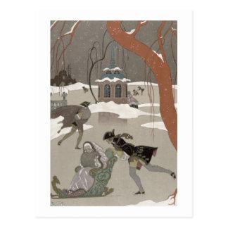 Patinaje de hielo en el lago congelado, ejemplo postales