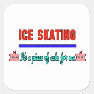 Patinaje de hielo es un pedazo de torta para mí pegatina cuadrada