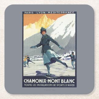 Patinaje de hielo - poster olímpico del promo de posavasos de cartón cuadrado