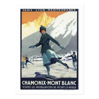 Patinaje de hielo - poster olímpico del promo de postal