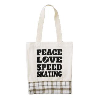 Patinaje de velocidad del amor de la paz bolsa tote zazzle HEART