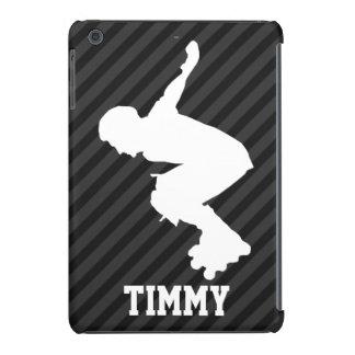 Patinaje de Xtreme; Rayas negras y gris oscuro Funda Para iPad Mini