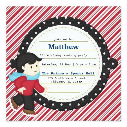 """Patinaje del cumpleaños (muchacho) invitación 5.25"""" x 5.25"""""""