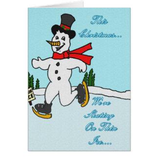 Patinaje en el hielo fino tarjeta de felicitación