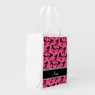 Patinaje en línea rosado conocido personalizado bolsas reutilizables
