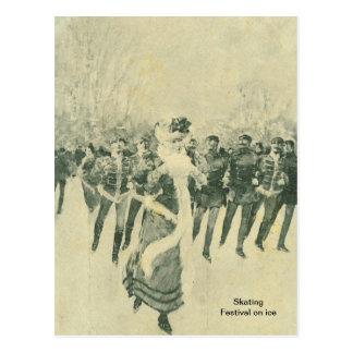 Patinaje, festival en el hielo, tarjeta postal