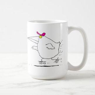 Patinaje sobre ruedas del pájaro taza de café
