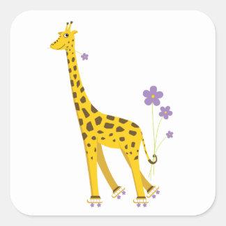 Patinaje sobre ruedas divertido de la jirafa pegatina cuadrada