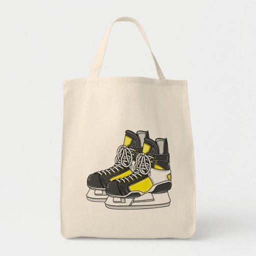 Patines amarillos del hockey sobre hielo bolsa de mano