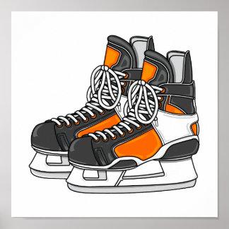 Patines anaranjados del hockey póster