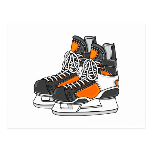 Patines anaranjados del hockey tarjeta postal