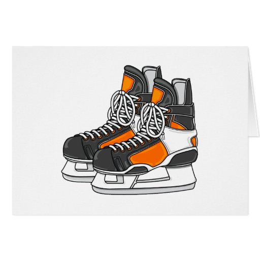 Patines anaranjados del hockey tarjetón