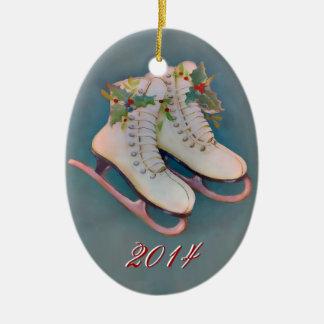 Patines de hielo 2014 adorno ovalado de cerámica