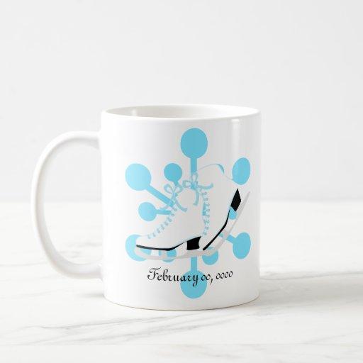 Patines de hielo del copo de nieve tazas de café