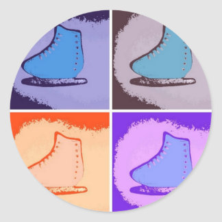Patines de hielo pegatina redonda