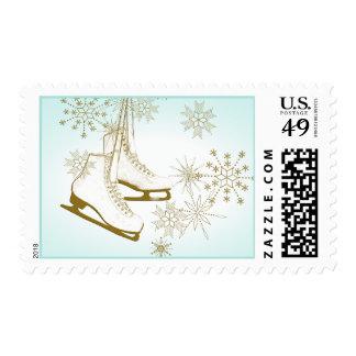 Patines y copos de nieve de hielo timbre postal