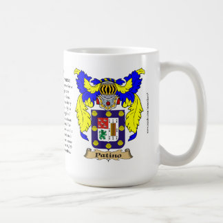Patino name, the Origin, the Meaning and the Crest Coffee Mug