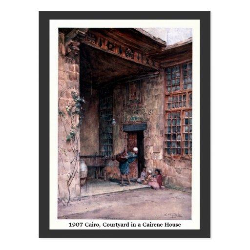 Patio 1900 de El Cairo Egipto del vintage en una Tarjetas Postales