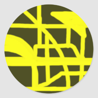 Patio-amarillo Pegatina Redonda