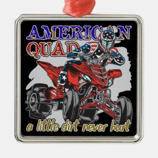 Patio americano adorno navideño cuadrado de metal