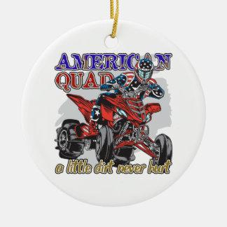 Patio americano adorno navideño redondo de cerámica