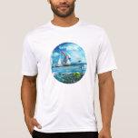 Patio azul grande de las naturalezas de la burbuja camiseta