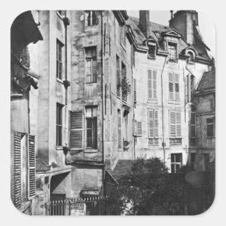 Patio de Rohan, París, 1858-78 Pegatina Cuadrada