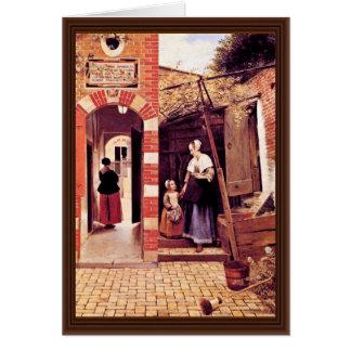 Patio de una casa en Delft de Hooch Pieter De ( Tarjetón