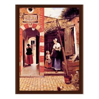 Patio de una casa en Delft de Hooch Pieter De ( Tarjetas Postales